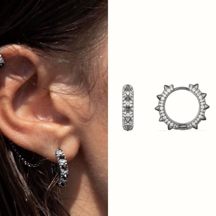 💎1477、黑鑲捕夢網系列 Hérisson設計輕奢刺蝟耳環💎正韓飾品 耳環 珠寶 925純銀針