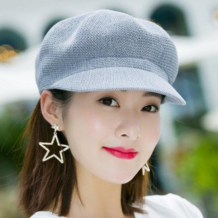 帽子女春夏天透氣鴨舌帽八角帽遮陽帽英倫百搭貝雷帽韓版時尚草帽