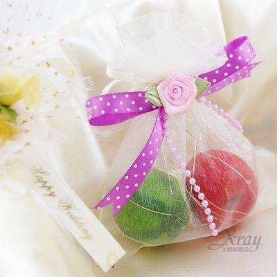 X射線節慶王【Y110009】水果蠟燭紗袋(紗袋+水果蠟燭+玫瑰花蝴蝶結),第二次進場送客婚禮小物
