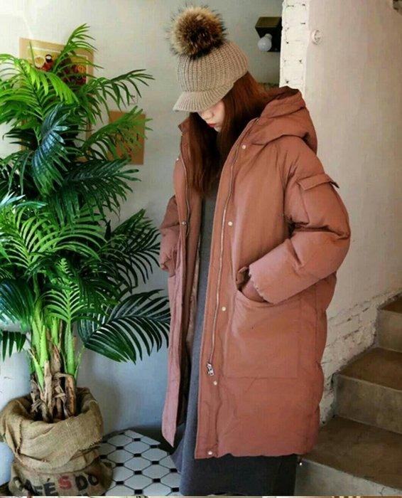 【實拍】🔥韓-中長款連帽棉外套/長版外套/服加厚寬鬆/大碼棉衣外套【三色S-XL】