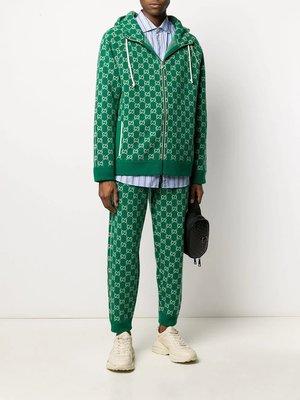 『Jewel Apparel』GUCCI 20SS 滿版 雙G LOGO 提花設計 羊毛 綠色 拉鍊外套 夾克