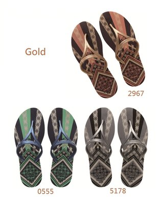 女拖鞋 dupe' Hit Gold 系列 巴西橡膠人字拖/夾腳拖鞋