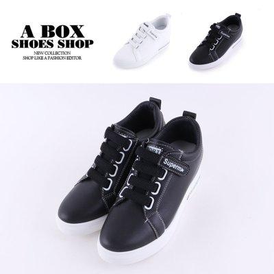 格子舖*【KT8829】6.5CM內增高休閒鞋 百搭皮革材質魔鬼氈黏帶休閒包鞋 小白鞋 2色
