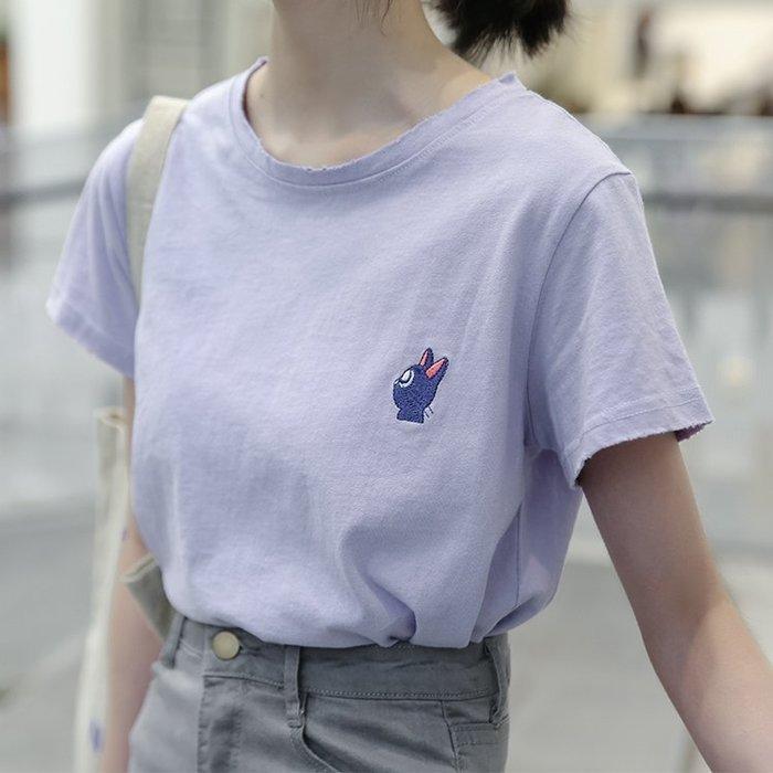 SeyeS  復古古著日系美少女戰士卡通露娜黑貓刺繡T恤