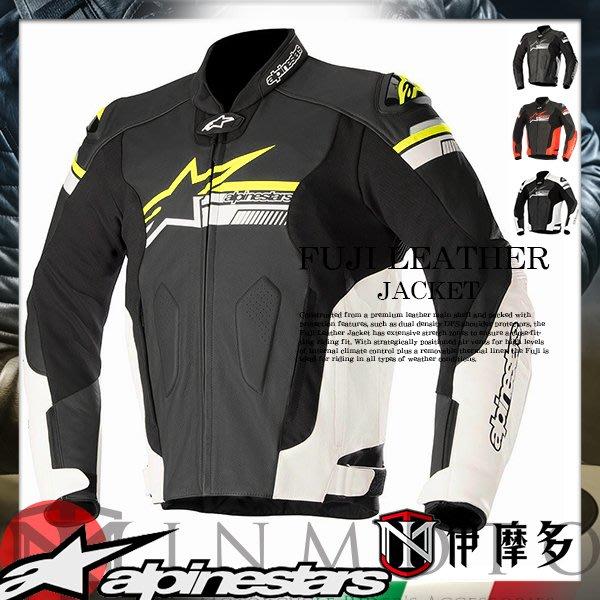伊摩多※義大利 Alpinestars 防摔皮衣 FUJI LEATHER JACKET 3100318_125 黑白黃