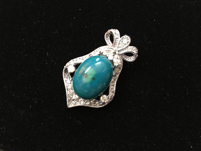 *藏雅軒*天然礦石晶鑽銀白K珠寶飾品-印尼花寶項墜-8.57g