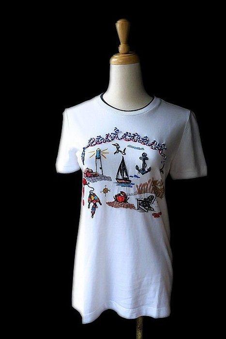 *Beauty*TORY BURCH白色海洋圖案短袖T恤XS號  4500 元W18