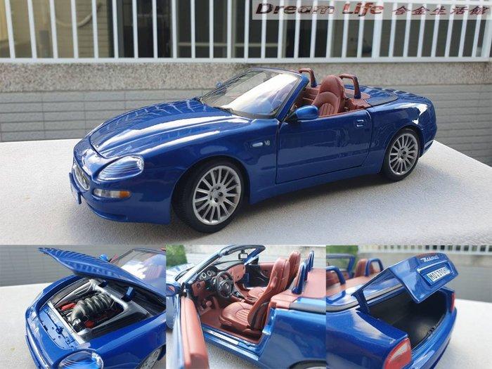 【Bburago 精品】1/18 Maserati GT Spyder 瑪莎拉蒂敞篷車~全新藍色~現貨特惠價~!!