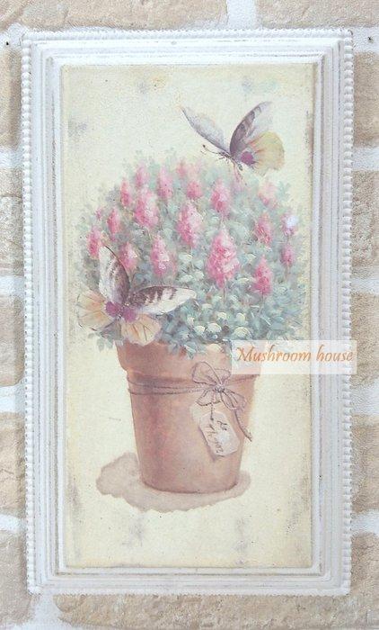 點點蘑菇屋 歐式古典紅色小花與蝴蝶立體木框畫 木板彩繪掛畫 壁飾 掛飾 掛畫 鄉村風雜貨 現貨