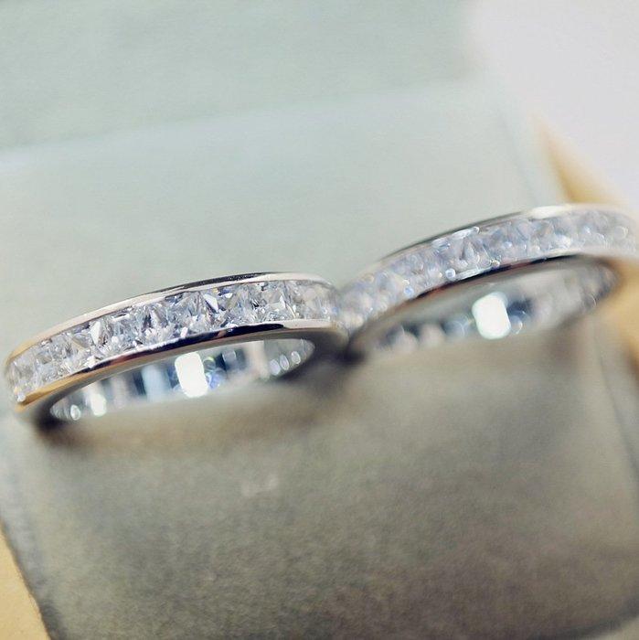 衣萊時尚-新款s925純銀鑲嵌施華洛四方鋯石群鑲滿鉆戒指男女時尚飾品
