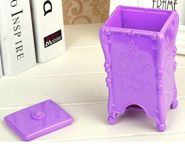 *美公主城堡*安娜蘇風格 復古蝴蝶風 掀蓋式化妝棉收納架 羅蘭紫 方形 美甲 美睫 保養 沙龍 居家 工作室 去漬棉