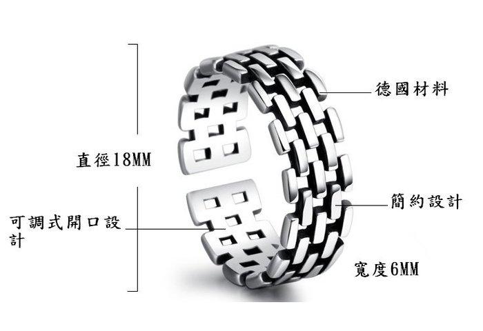 日韓時尚銀復古錶鏈泰銀戒開口戒指情人節禮物生日禮物
