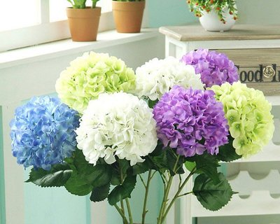 5Cgo【樂趣購】含稅15956357510 仿真花高仿單支繡球花高枝花落地花客廳擺放浪漫絹花花藝 5支