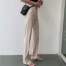 台北當日出貨〔靚衫〕簡約高腰顯瘦口袋長褲.直筒高腰褲.西裝褲(黑/杏6540)S.M.L現貨.發票含稅