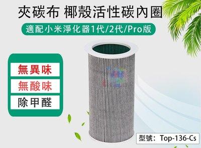 【面交王】夾碳布 椰殼活性碳 內圈 適用小米空氣淨化器1代/2代/Pro 鼻過敏 空汙 呼吸道 Top-136-Cs