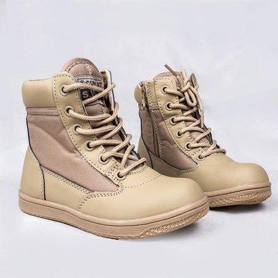 ZIHOPE 軍靴 兒童軍靴特種兵男女中大童春秋作戰靴高筒戶外登山靴沙漠靴親子鞋ZI812