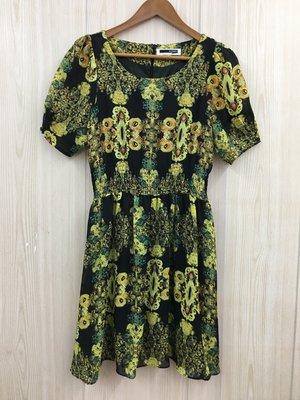 【愛莎&嵐】H:CONNECT 女 黑底印花短袖洋裝 / S 1080322