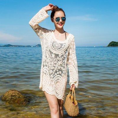 【Strawberry】海邊度假沙灘裙溫泉鉤花鏤空蕾絲罩衫性感沙灘泳衣外搭中長款長袖