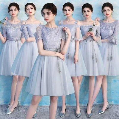 天使佳人婚紗禮服旗袍~~~灰色蕾絲短款小禮服
