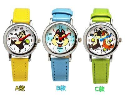 【卡漫迷】 奇奇蒂蒂 手錶 2款選1 ㊣版 皮帶 卡通錶 Chip n Dale 迪士尼 兒童錶 女錶 松鼠 花栗鼠