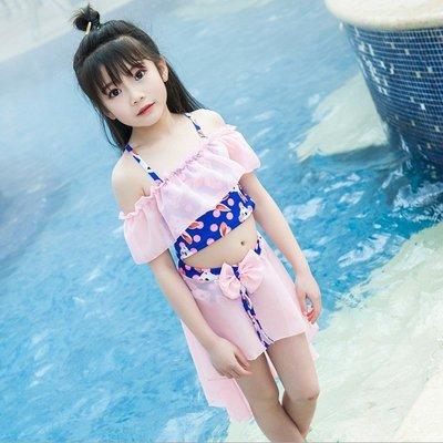 兒童泳衣可愛印花裙裝分體泳衣吊帶沙灘泳裝  XY1434
