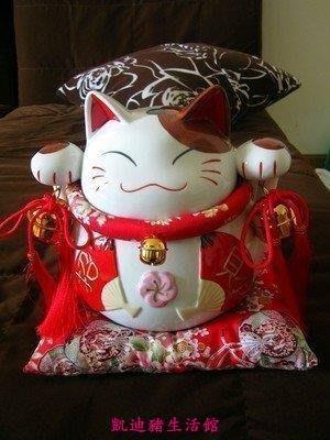 【凱迪豬生活館】日本 和風扇招財貓大號陶瓷擺件開業儲蓄罐 家居擺設 擺飾 禮品 禮物KTZ-201049