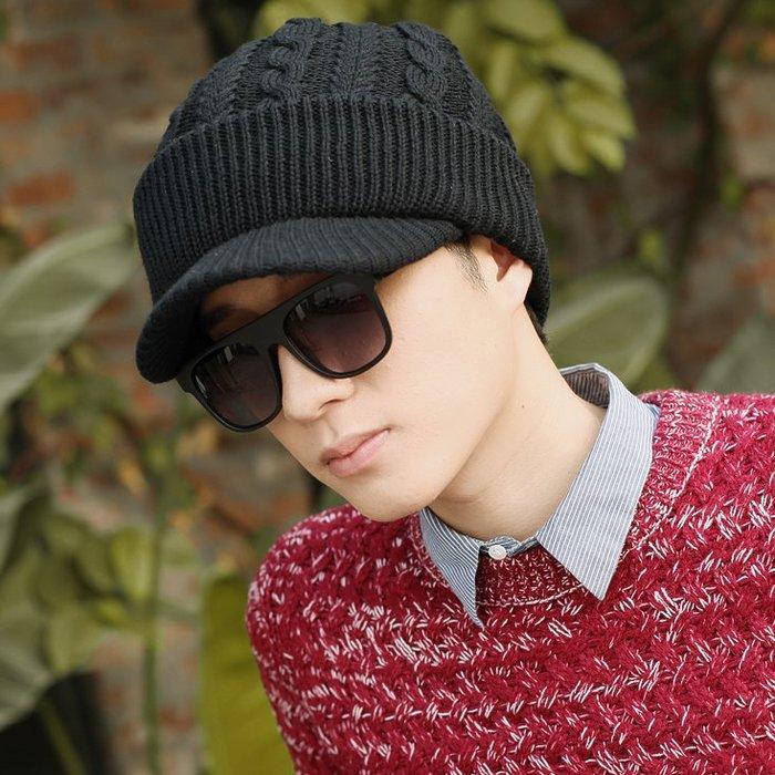 洛克小店帽子男冬天冬季韓版潮毛線帽有帽檐寬檐羊毛針織帽騎車護耳677888