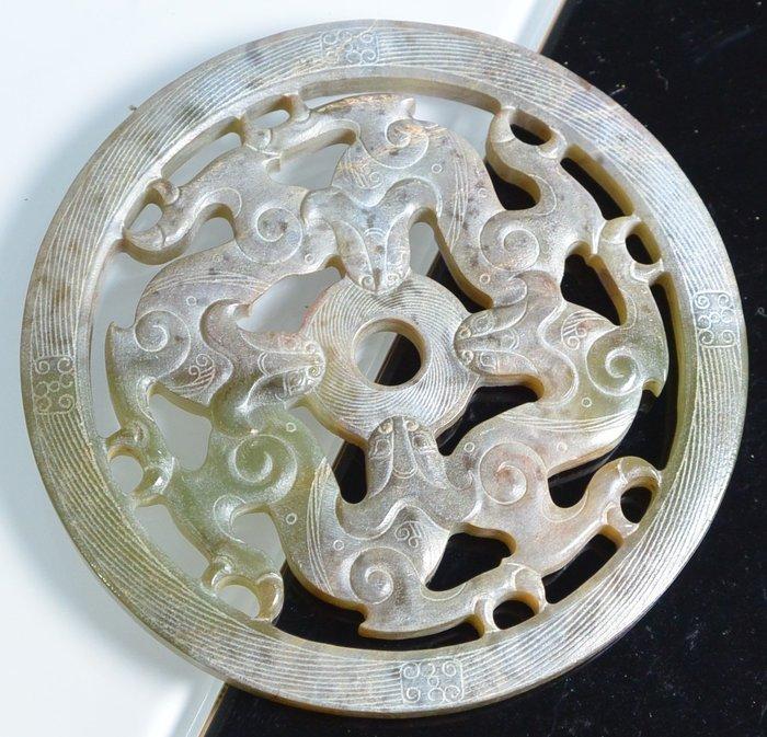 [天地居] 漢 帶沁和闐鏤空玉龍珮 玉璧 01-05