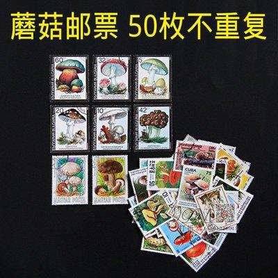 有一間店~外國郵票蘑菇菌類50枚專題郵票不重復大中小型票居多 信銷蓋銷票#規格不同 價格不同#