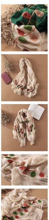日本刺繡圍巾 秋冬新品 純棉 葉子圖案 刺繡圍巾 普普風 日本圍巾 多色