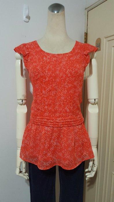 'epanouir專櫃橘紅色前摺飾星星印花雪紡衫#36(適S~M)*250元直購價*