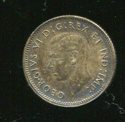 CANADA 加拿大銀幣,10-CENT,K34,1943,品相極美 XF