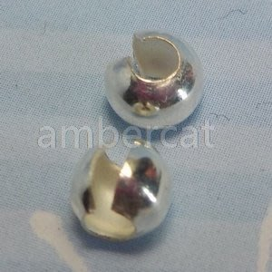 琥珀貓~【925純銀材料配件】擋珠帽,C型開口包珠扣,定位夾扣~4mm~一組2個