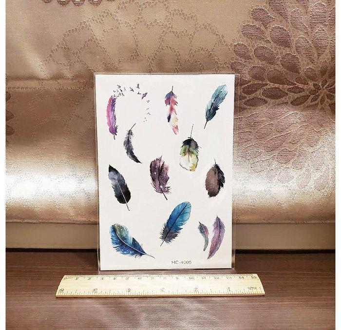 【萌古屋】】綜合彩色羽毛 - 手背防水紋身貼紙刺青貼紙K33