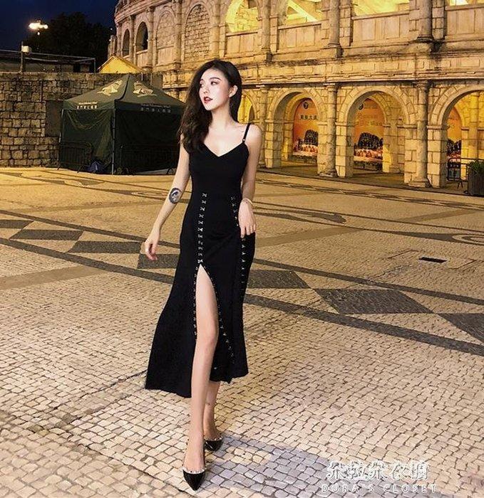 復古優雅氣質V領露背性感開叉吊帶裙高腰修身小黑裙禮服洋裝女