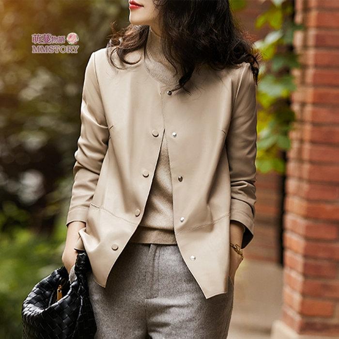雙11特惠 質感軟皮純色外套 M-2XL  萌蔓物語【KF0375】韓氣質皮衣大衣