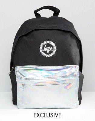 Hype Holographic Contrast Pock 黑色 電鍍銀 反光 休閒 後背包