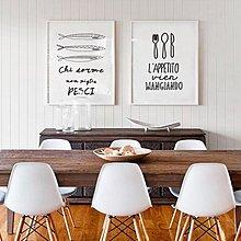 北歐現代簡約客廳餐廳黑白字母裝飾壁畫畫心畫布壁畫掛畫噴繪