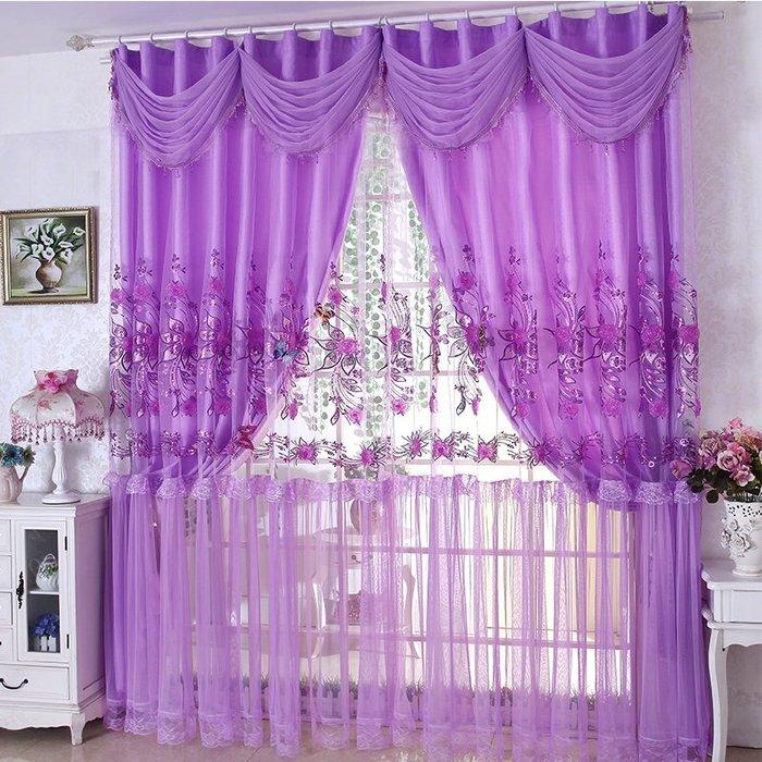 創意 居家裝飾 溫馨遮光窗簾成品 簡約現代清新大氣婚房公主風臥室韓式雙層窗紗
