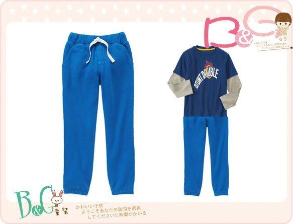 【B& G童裝】正品美國進口GYMBOREE Drawsting Sweatpant藍色內軟刷毛藍色長褲6-7-8yrs