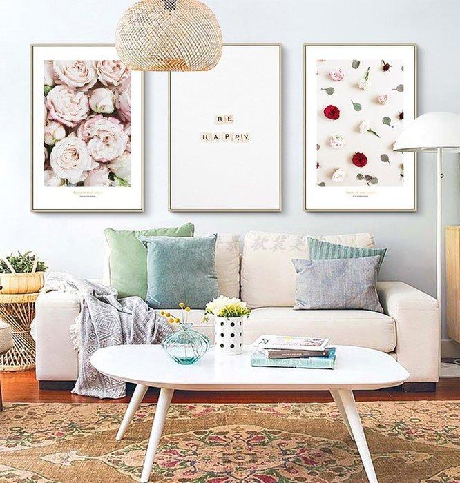 ins北歐現代簡約風格花卉植物小清新裝飾畫畫芯畫布掛畫畫心(不含框)