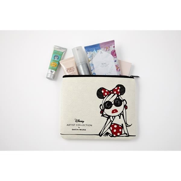 ☆Juicy☆日本雜誌附錄 迪士尼 米妮 聯名 三浦大地 收納袋 化妝包 小物包 手拿包 收納包 旅行包 7183