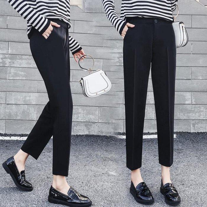 春夏新款高腰顯瘦寬鬆闊腿褲大碼休閒煙管西裝褲九分直筒褲女長褲