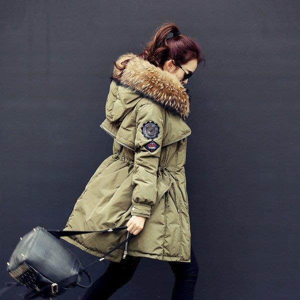 §韓國空運連線 韓國95%白鴨羽絨 冬裝大碼軍工裝外套女韓版大毛領羽絨服女款加厚中長款潮 情侶外套 §