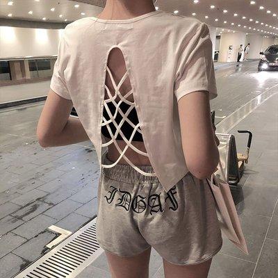 T恤 上衣 短袖 百搭 新款港味復古風設計感百搭夏裝新款性感心機露背綁帶短袖T恤女潮
