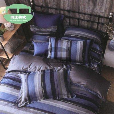 §同床共枕§100%精梳棉 單人3.5x6.2尺 舖棉床罩鋪棉兩用被五件式組-CB618品味生活-藍
