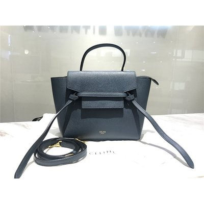 【KoKo奢品】 CELINE 189003 Nano Belt bag in grained calfskin 深淵藍