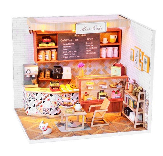【批貨達人】下午茶時光 手工拼裝 手作DIY小屋袖珍屋 迷你屋 創意小物生日禮物