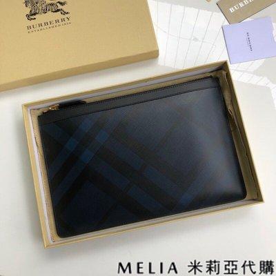 Melia 米莉亞代購 美國精品代購 巴寶莉 戰馬 男士款 皮夾 錢包 手拿包 荔枝紋 禮盒包裝 深藍黑格紋