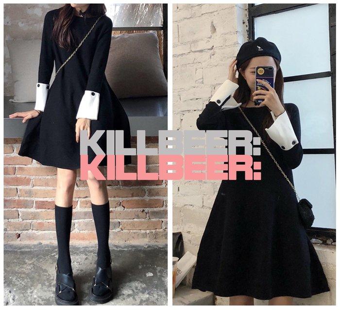 KillBeer:小姊姊等等我之 韓國代購復古百搭氣質搖滾絕黑撞色拼接袖顯瘦傘擺針織連身裙洋裝010321